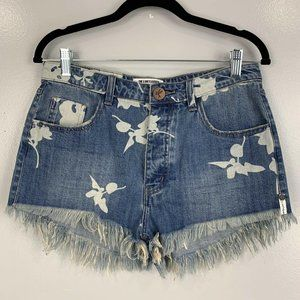 One Teaspoon Outlaws Floral Printed Frayed Shorts
